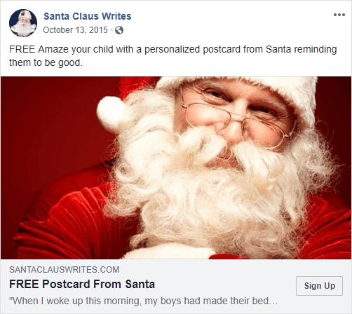 Santa Postcard Ad